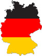 Map of Germany with national flag