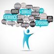 nuage de mots bulles silhouette : service à la personne