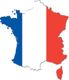 Map of France with national flag