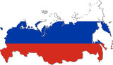 Map of Russia with national flag