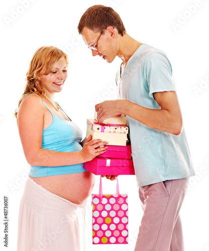 Pregnant woman with man.