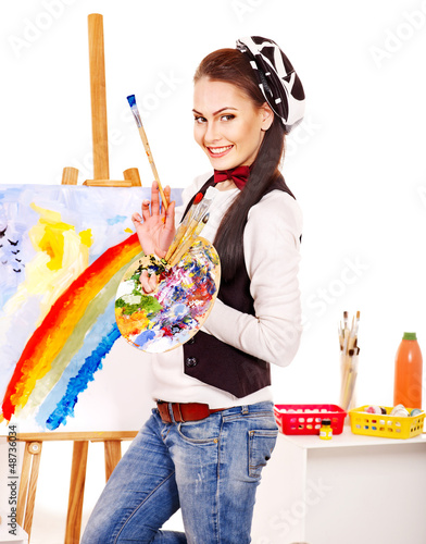 Female artist at work.