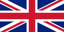 Flaga Wielkiej Brytanii w odpowiednich proporcjach i kolorystyki