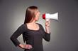 woman holding megaphone