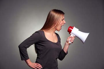 woman shouting in loudspeaker