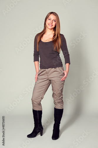 smiley woman in boots