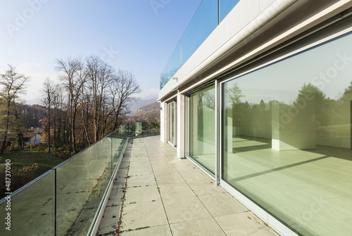modern architecture, new empty apartment, balcony view