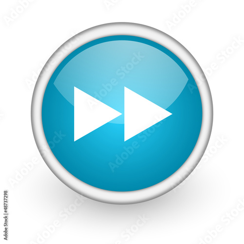 scroll blue glossy icon on white background