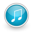 music blue glossy icon on white background