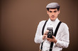 Antique photographer outfit and dslr