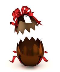 uovo cioccolato aperto con fiocco