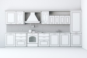 Rough Draft Of Classic Kitchen Cabinet (First Version)