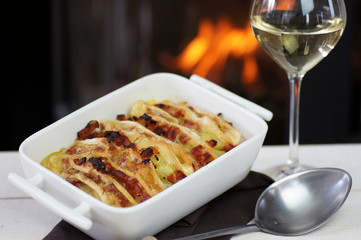 tartiflette et vin blanc au coin du feu 1