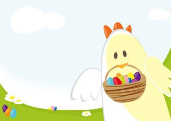 Easter chick carrying basket with easter eggs