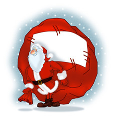 Santa Claus with a big bag of gifts