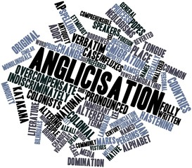 Word cloud for Anglicisation