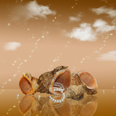 background with shells and pearl strings