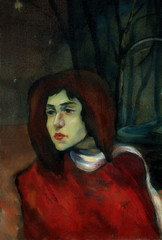 old portrait of the young girl in night park, painting by oil on