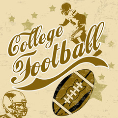 College american football grunge poster