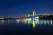 View of Tokyo at night with Rainbow Bridge