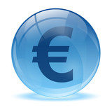 3D glass sphere and euro icon