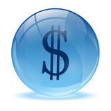 3D glass sphere and dollar icon