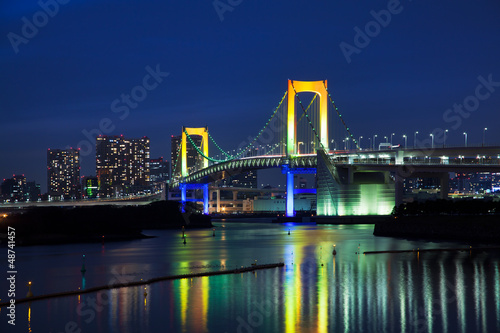 canvas print picture View of Tokyo at night with Rainbow Bridge