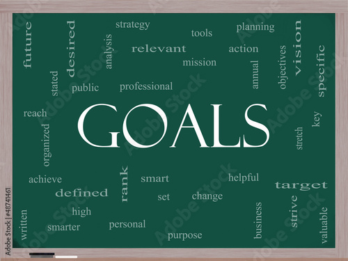 Goals Word Cloud Concept on a Blackboard