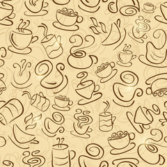 Brown Seamless Pattern with Coffee and Tea Cups