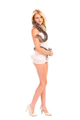 pretty young blonde woman posing with python