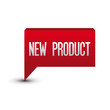 New product tag button red