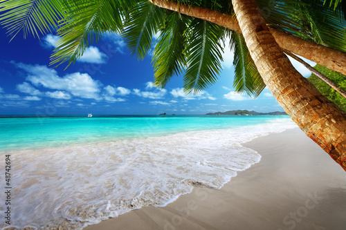 beach at Prtaslin island, Seychelles