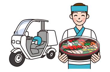 寿司デリバリーの男性と宅配バイク