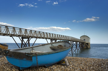 Blue Fishing Boat at Selsey Bill Lifeboat Station
