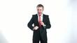 businessman dancing with headphones