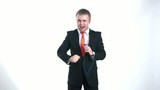 businessman dancing with headphones