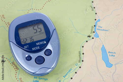 Blue Pedometer And Map