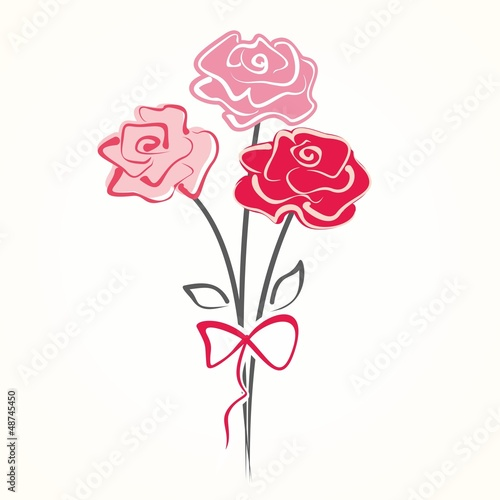 Bouquet of beautiful roses. Hand drawn vector illustration.