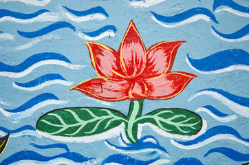 graffiti with lotus fragment on wall