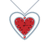 Heart-clock with diamonds and chain