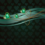 Beautiful three green diamond hearts and gold ornaments