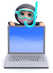 Scuba guy behind a laptop