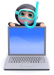 Scuba guy behind a laptop
