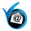 messagerie email sur bouton validé bleu