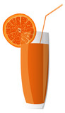 Fresh juice orange on a white background