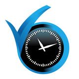horloge sur bouton validé bleu
