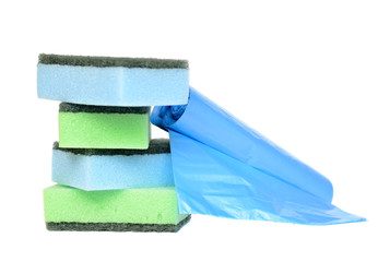 Garbage bags and sponges for cleaning