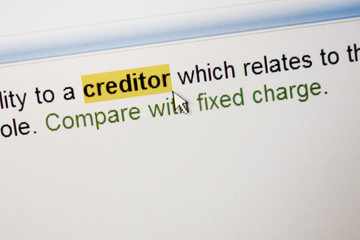 Highlighted word Creditor