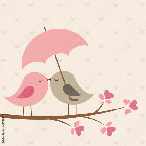 Birds under umbrella. Romantic card