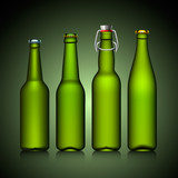 Beer bottle clear set with no label green glass